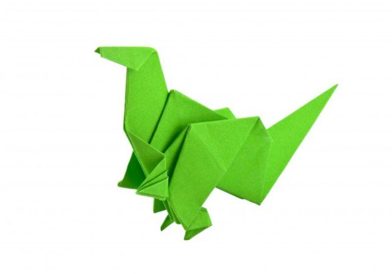 Origami com papel verde